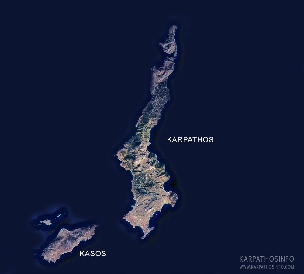 Karpathos and Kasos geographical map