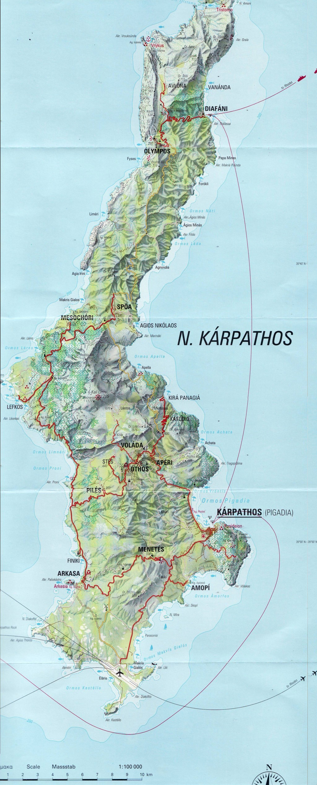 Karpathos map and beach map download Greece
