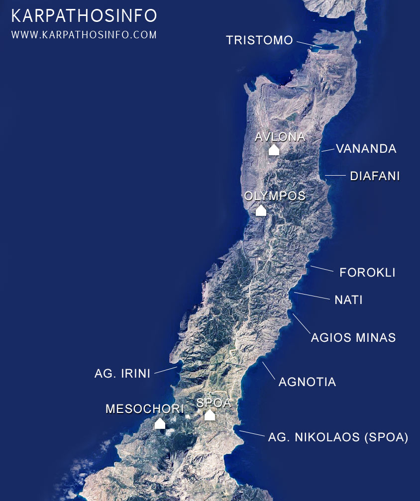 Karpathos beach map (the north beaches)