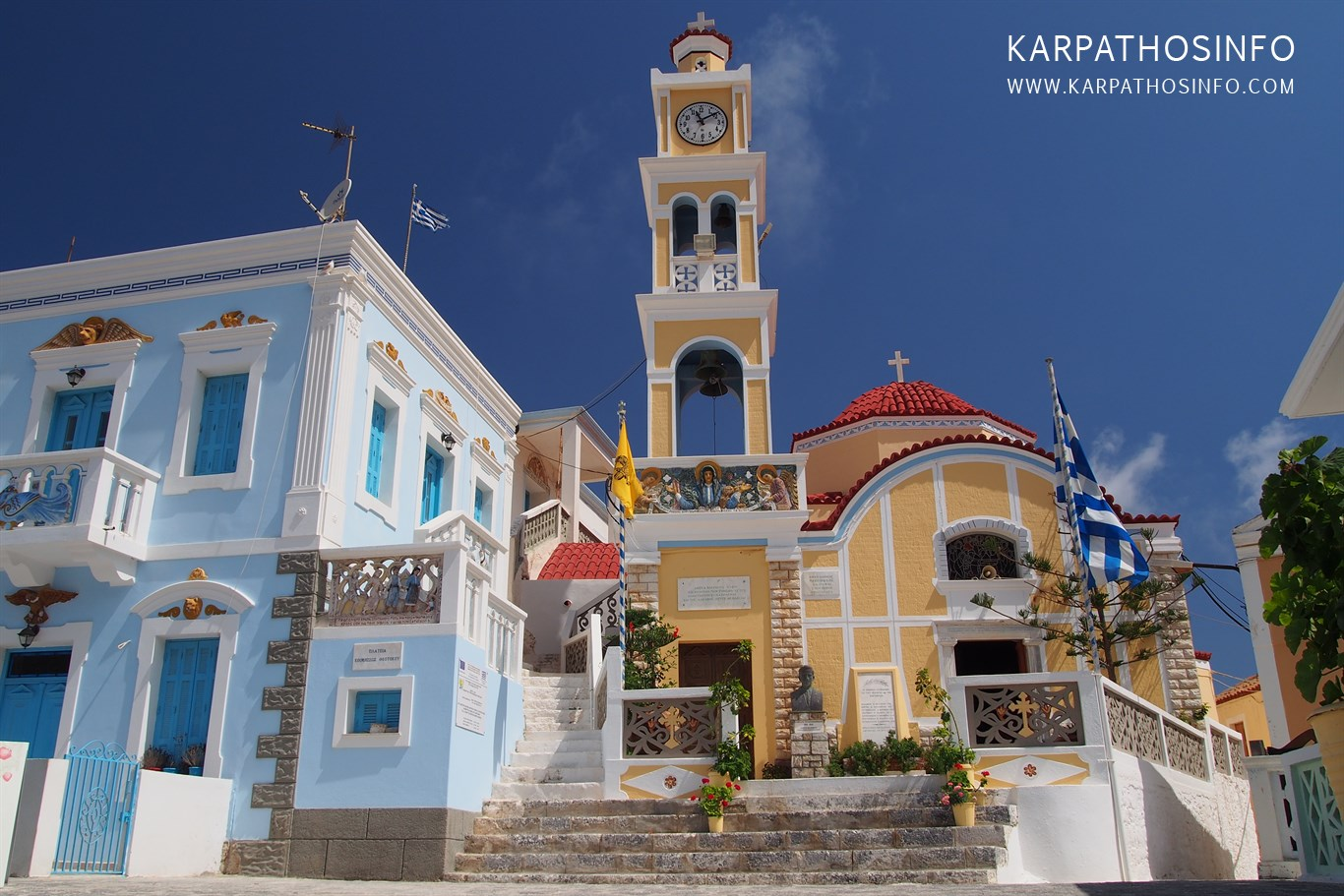Olympos main square and church, Karpathos